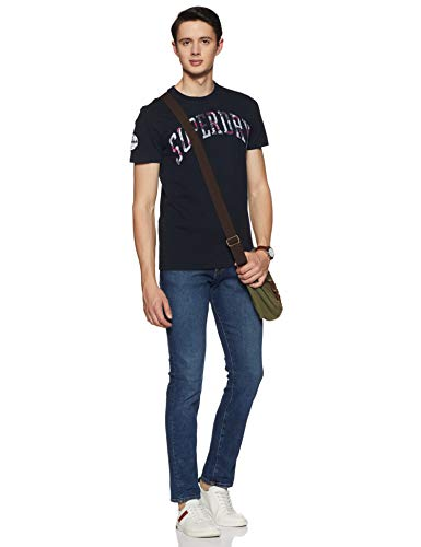 Superdry Mens 'Camo Embossed' Short Sleeved T-Shirt (Eclipse Navy) L