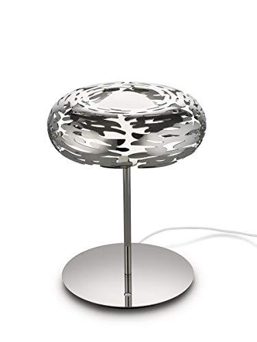 Alessi Barklamp BM11 - Lampe de Table LED avec Décorations Ajourée, Acier Inox 18/10, Poli