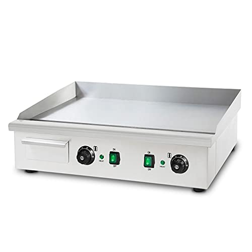 vertes Elektro Grillplatte, glatt (4400W, 2 Bratzonen, Fett-Auffangbehälter, Gusseisen Grillfläche, rutschfeste Gummifüße)