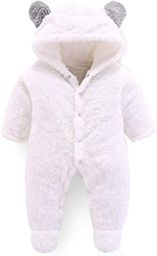 LBWLB Winter-Baby-Schlafsack in Korallensamt, Baumwolle, Kleinkind-Schlafsack, Cartoon-Bär, Weiß, 3 m (A,12 m)