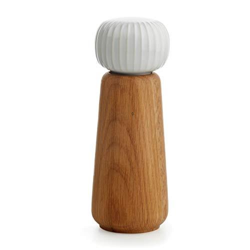 Hak Kähler Hammershoi Salz und Pfeffermühle aus Holz und Porzellan-Kopf, moderne Gewürzmühle 2er Set zum drehen mit Rillen-Design, Weiss, 18.5cm