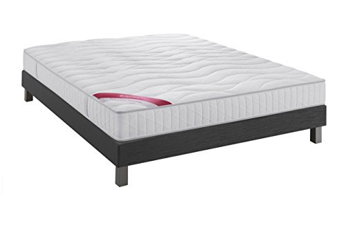 Ensemble Equateur Relaxima matelas 100% latex Dunlopillo, Anthracite, 160x200