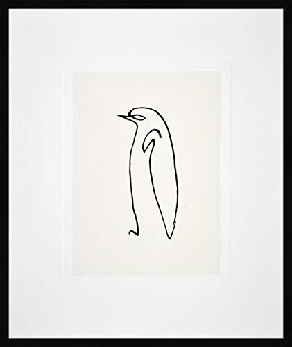 Nielsen Home Bild mit Rahmen 50x60 cm (hoch) - Picasso Le Pinguin I der Pinguin - Kunstdruck - Holzrahmen Schwarz - Premium Poster gerahmt Made in Germany