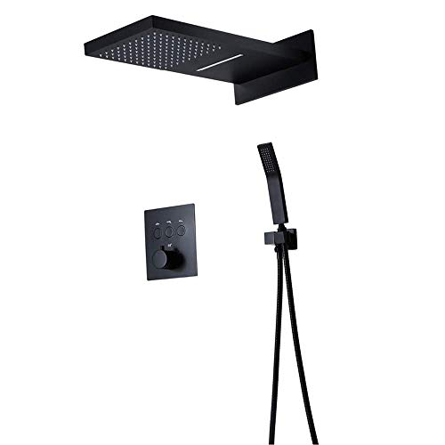 GENFALIN Montado en la pared de ducha Sistema, ducha de mano y ducha válvula de grifo, baño termostático de la ducha de lluvia Conjunto de Conjunto y de mano Conjunto de Conjunto