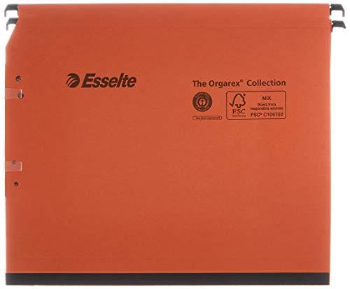 Esselte Dossier Suspendu Latéral Armoire, Fond 15 mm, A4, Lot de 25, Onglets inclus, Orange, Orgarex Kori, 22214