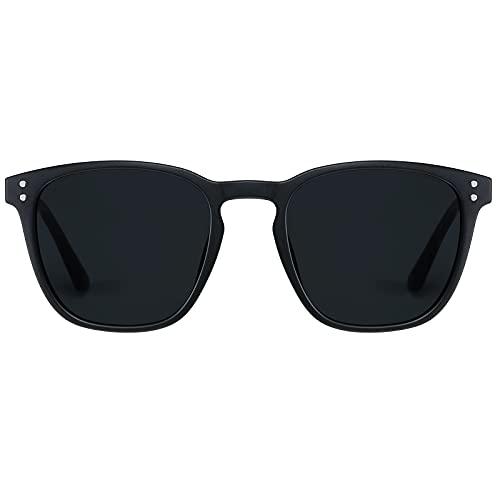 H HELMUT JUST Gafas De Sol Polarizadas Hombre Rectangulares para Conducir TR90 y Acetato HJ1012 (Mate Nergo/Gris)
