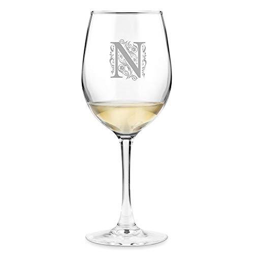 Murrano Weinglas mit Gravur 350 ml - personalisiert - Wein Glas für Rotwein Weißwein - Geschenk Geburtstag für Frauen Freundin - Buchstabe