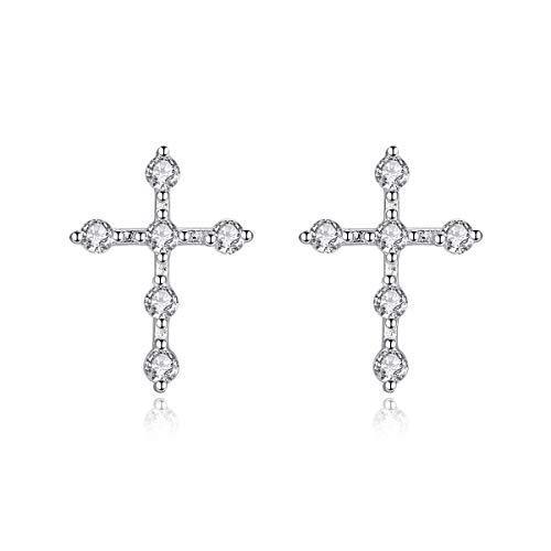 Bo&Pao - Orecchini da donna a forma di croce, in argento Sterling 925, con zirconi