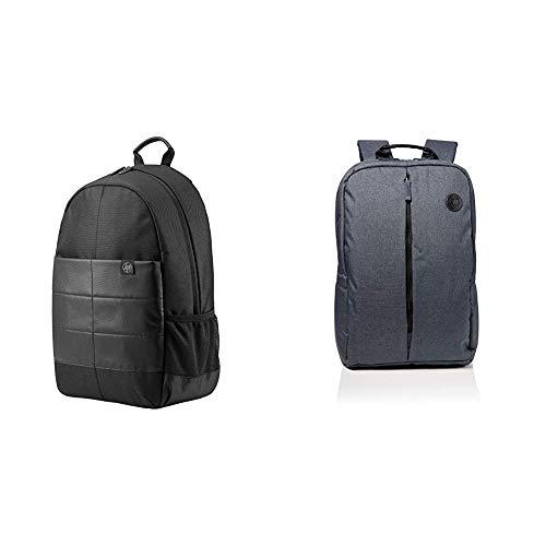 HP 1FK05AA - Mochila para portátiles de hasta 15.6', color negro + Value Backpack 15.6 - Mochila para portátiles de hasta 15.6', gris y azul
