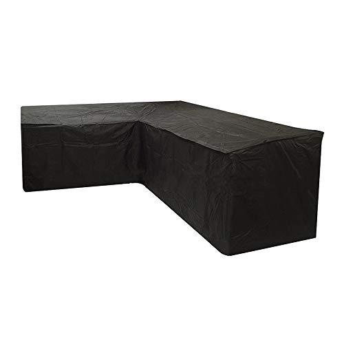Funda de sofá esquinero de jardín, impermeable, lona de protección de salón en forma de L, anti UV, cubierta de muebles exterior para jardín, terraza (270 x 270 x 90 cm), color negro