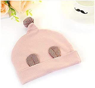 Baby Decoration Hat Infant Plaid Ear Hedging Cap Baby Warm Cap Newborn Sleeping Hat for 0-3 Months(Blue) Cute Cap (Color : Pink, Size : Head Circumference)