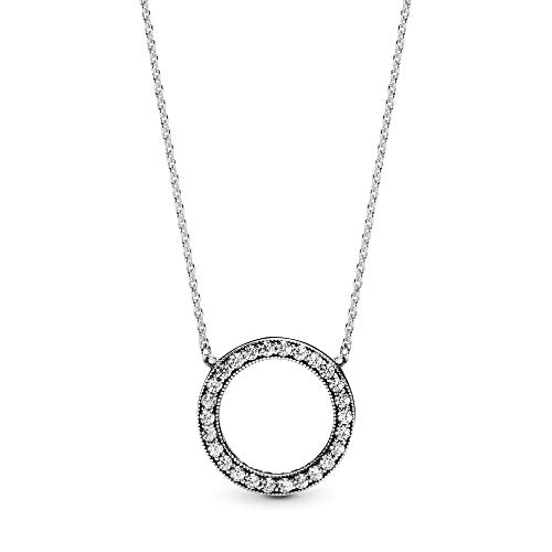 Pandora Jewelry Circle of Sparkle Cubic Zirconia Necklace in Sterling Silver, 17.7'