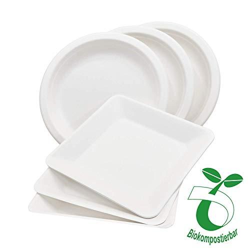 Pack&Cup Bio Menüteller Rechteckig aus Zuckerrohr 100% kompostierbar und umweltfreundlich Eco 26 x 26 cm 50 Stück