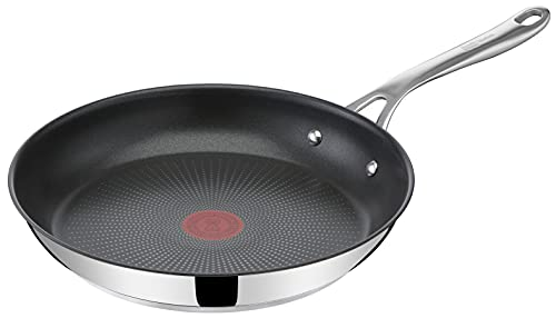 Tefal E30406 Cook's Direct Jamie Oliver Bratpfanne | 28 cm | induktionsgeeignet | spülmaschinenfest | langlebige Antihaft-Beschichtung | Thermo-Signal-Technologie | Edelstahl/Schwarz