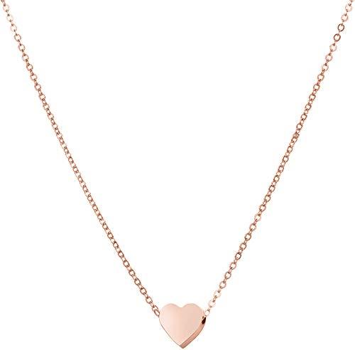 day berlin Herz Kette Damen Halskette in Rosegold 45-50cm Filigrane Herzkette Rose mit Anhänger kleines Herz, Variable Länge