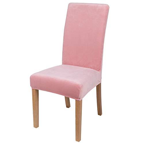 smiry Velvet Stretch Esszimmer Stuhlhussen, Weiche abnehmbare waschbar Esszimmerstühle Schonbezüge, 6er Set, Rosa