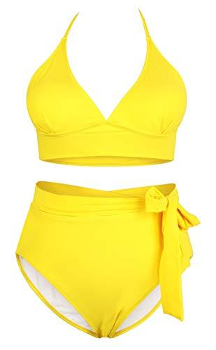 Sovoyontee Women's Yellow 2 Piece Plus Size High Waisted Tummy Control Swimwear Swimsuit 4XL 20