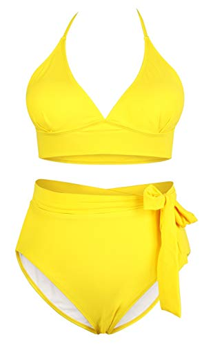 Women's Yellow 2 Piece Plus Size High Waisted Tummy Control Swimwear Swimsuit Sets XL 14