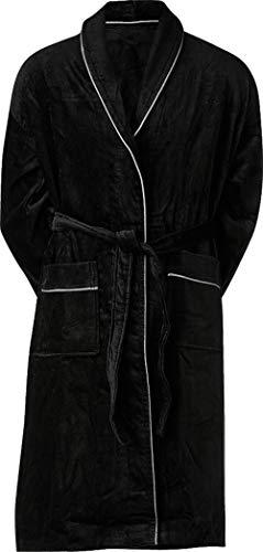 jbs Bademantel Herren und Damen, Flauschiger Morgenmantel aus 100% Baumwolle, skandinavischer Hausmantel ohne Kapuze, atmungsaktiv, schwarz, M