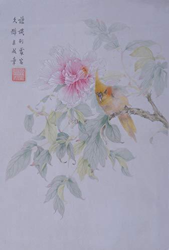 Jiangnanruyi Art Parrot Bird Fleur Oridental œuvre originale sans cadre peint à la main chinoise Brosse Lavage à encre et aquarelle Peinture Dessin Tableau sur papier de riz Décoration Décor pour bureau Salon