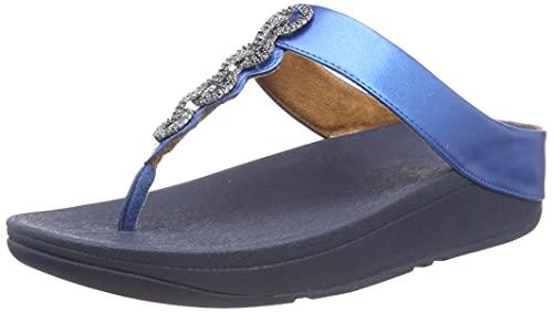Fitflop Damen FINO Toe Post-Crystal Chain Flipflop, Mykonos Blue, 40 EU