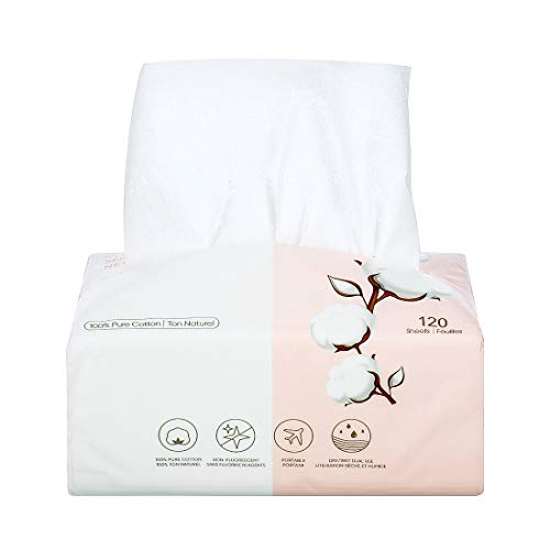 MINISO Disposable Face Towel 100% Cotton Facial Tissue Dry Wipes for Sensitive Skin, 120 Sheets