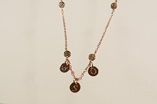 Rosevergoldete Silberkette mit Rauchquarzkugeln und Deinen Initialen- Personalisiertes Geschenk für Sie