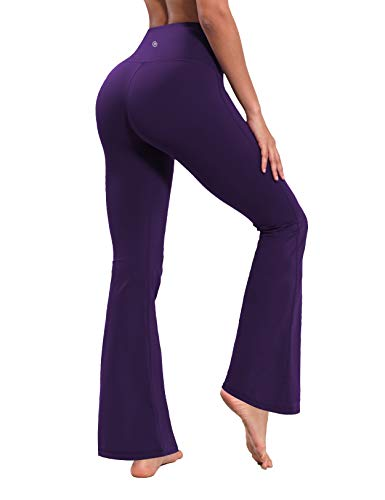 BUBBLELIME 29'/31'/33'/35'/37' 4 Styles Women's High Waist Bootcut Yoga Pants - Basic Nylon_EGGPLANTPURPLE XL-33 Inseam