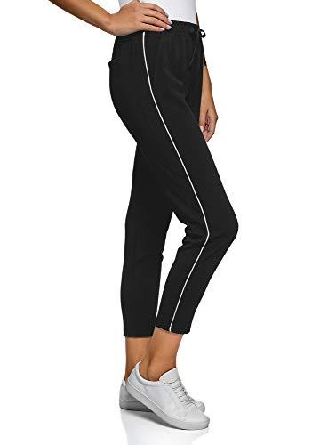 oodji Ultra Damen Hose aus Strukturiertem Stoff mit Seitenstreifen, Schwarz, DE 38 / EU 40 / M