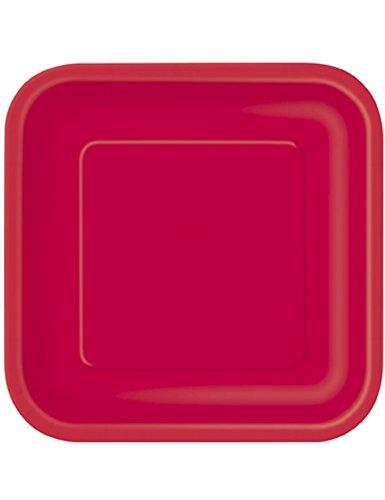 14 Grandes assiettes rouges carrées en carton - taille - Taille Unique - 209100