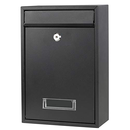 Wall Mounted Mailboxes with Rust-Proof Cover, Decaller Outdoor Key Locking Mail Box, 12 3 5  x 8 1 2  x 3 2 5 , Black