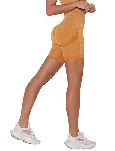 Shaperin, leggings corti da donna, a compressione, per sport, yoga, corsa, push up, palestra, yoga, corsa #1 giallo L