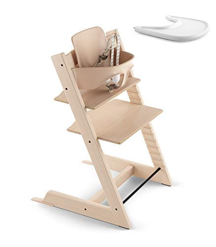 Stokke 2019 Tripp Trapp Natural High Chair & White Tray Bundle