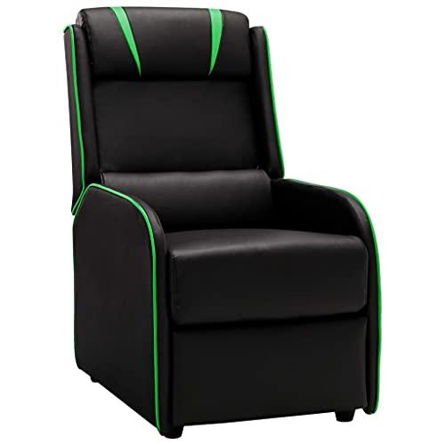 vidaXL Sillón Reclinable con Reposapiés Respaldo Silla Gaming Gamer Asiento Salón Oficina Mueble Elevador Ergonómico de Cuero Sintético Negro y Verde