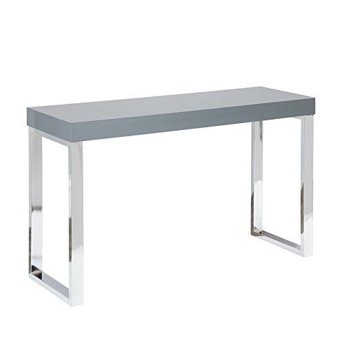 riess-ambiente.de Design Laptoptisch Grey Desk 120cm Hochglanz dunkelgrau Schreibtisch Konsole Konsolentisch Büro Bürotisch