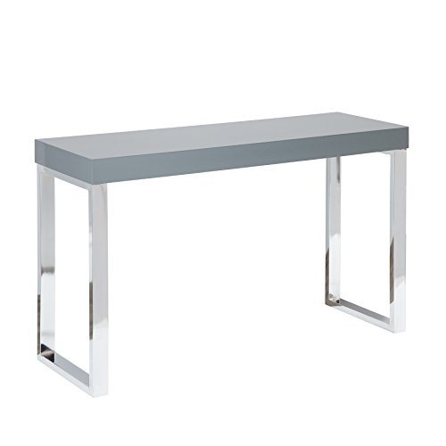 Riess Ambiente Design Laptoptisch Grey Desk 120cm Hochglanz dunkelgrau Schreibtisch Konsole Konsolentisch Büro Bürotisch