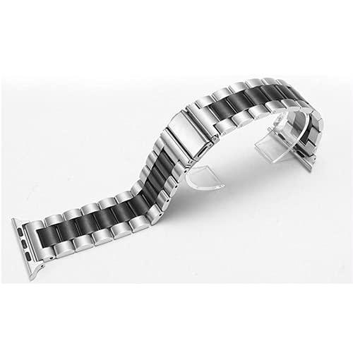 YMYGCC Correa Reloj Correa de Metal 44mm 40 mm 42mm 38 mm Brazalete de Acero Inoxidable 711 (Band Color : Silver Black, Band Width : 38mm 40mm)