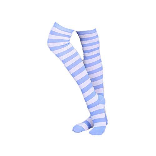 RdChicLog Mädchen Überknie Strümpfe Overknee Cheerleader College Kniestrümpfe Streifen Lange Socken Sportsocken (Streifen Hellblau Weiß)