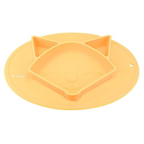 Navaris Baby Teller aus Silikon - Tischset Schüssel mit Matte - rutschfest BPA-frei spülmaschinenfest - Antirutsch Esslernteller - Design Katze