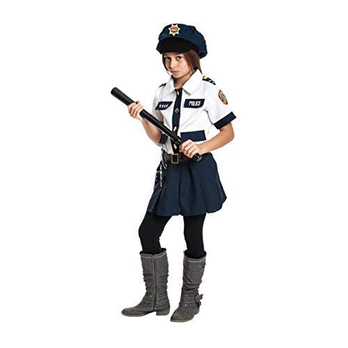 Kostümplanet® Polizei-Kostüm Kinder Mädchen Set mit Mütze und Zubehör Polizistin Faschingskostüm Verkleidung Polizist Kinderkostüm Karneval Größe 152