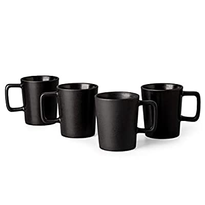 GBHOME Stoneware Dinnerware Set, Coffee Mugs Set of 4, Matte Black