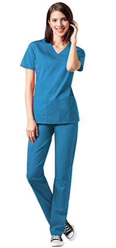 WonderWink WonderWork Women's V-Neck Top 101 and Elastic Waist Pant 501 Medical Uniforms Scrub Set (Teal Blue - Medium/Medium)