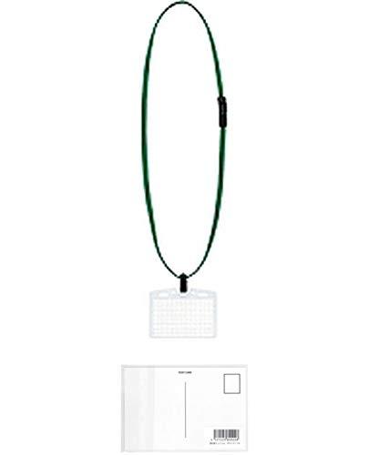 コクヨ 吊り下げ名札セット アイドプラス ソフト 名刺・IDカードサイズ 緑 ナフ-S180G + 画材屋ドットコム ポストカードA