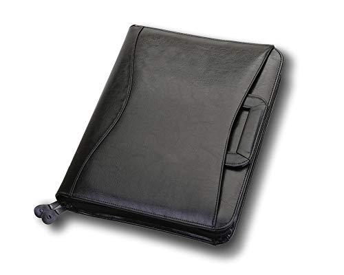 Travigo 3-Ring Business Leather Portfolio Retractable Handles Solar Calculator Professional Business Folder Resume Document Organizer Notepad Included (Black)