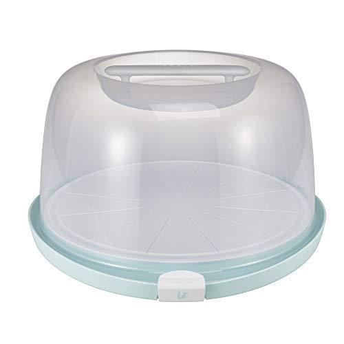keeeper Tortenbehälter mit Schneiderillen und Servierplatte, BPA-freier Kunststoff, Hoch, 38 x 37,5 x 21 cm, Emilio, Mintgrün