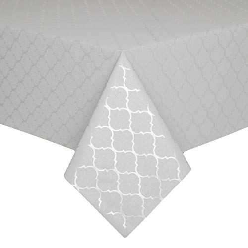 Hosonson 100% Waterproof Moroccan Vinyl TableCloth- Oil-Proof Stain Resistant DecorationSquare Tablecloth-WipablePVC TableCover for Kitchen, Indoorand Outdoor (54x54Inch, Dove)