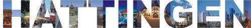 PEMA INDIGOS UG - Wandtattoo Wandsticker Wandaufkleber - Aufkleber farbige Wandschrift Städtename Städtename Hattingen mit Sehenswürdigkeiten 180 x 21 cm Länge