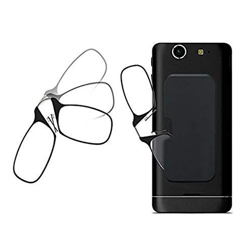 WYBF Tragbar Nasenclip Lesebrille Presbyopie Brille für Herren und Damen Mini-Brille Klebrig Handytasche,+100