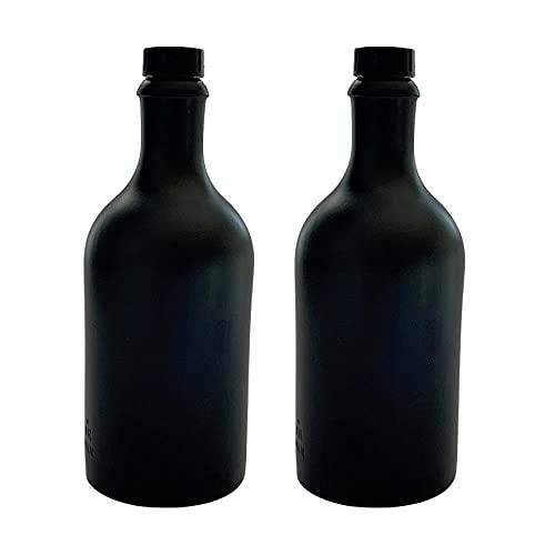 mikken 2 x Ölflasche 500 ml mit Ausgiesser Ölspender aus Keramik schwarz Made in Germany