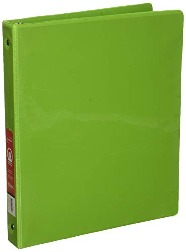 """BAZIC 1"""" Lime Green 3-Ring View Binder w/ 2-Pockets, Case of 12"""